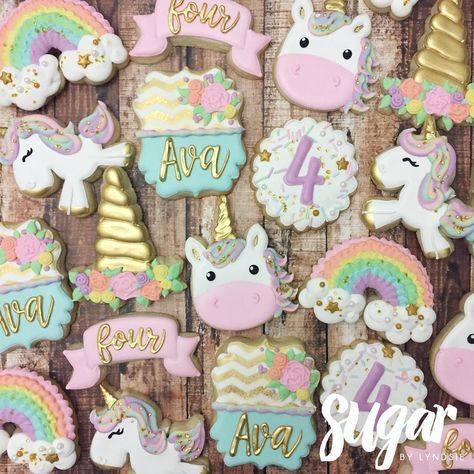 "424 Likes, 18 Comments - Lyndsie Hays (@sugarbylyndsie) on Instagram: ""Always be a unicorn! ✨ Happy 4th birthday, Ava! #customcookies #decoratedcookies #unicorn #dallas…"""