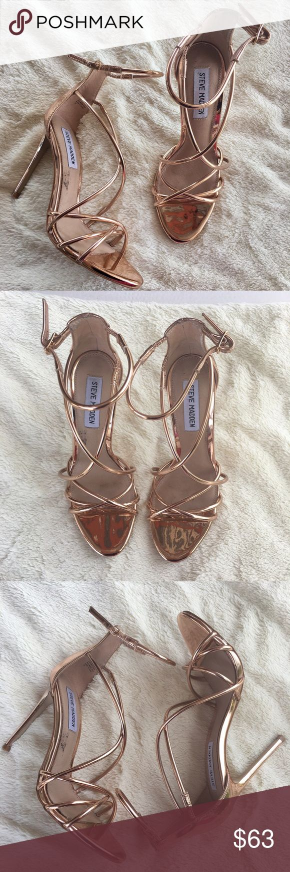 Steve Madden 'Satire' Metallic Strappy Sandal Steve Madden Metallic Strappy Sandal 'Satire'✨ Size:71/2 Color:  Rose Gold Heel height is just over 4 inches. Beautiful sexy heel that will be turning heads wherever you go. Perfect for a night out or prom. This style can be dressed up or worn casual with a pair or skinny jeans and a bodycon top! Steve Madden Shoes Heels