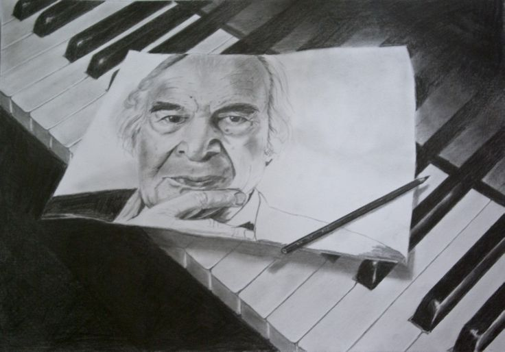 Dave Brubeck-pencil drawing-portrait-piano