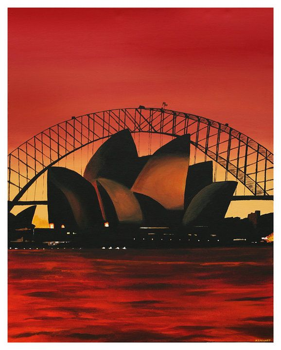 Acrylic painting, the stunning Sydney Opera House and Harbour Bridge  www.katiestewartart.co.uk