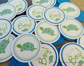 Items similar to Turtle baby shower banner, its a boy, blues and greens on Etsy