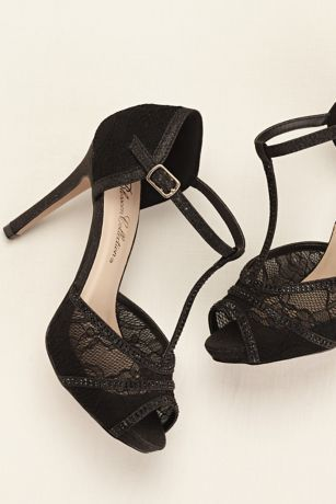 Lace Platform T-strap High Heel Sandal. Black Lace Prom Shoes from David's Bridal.