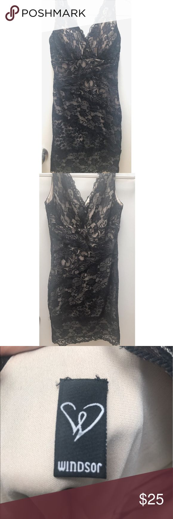 Bodycon Lace Dress Black lace and nude dress. WINDSOR Dresses Mini
