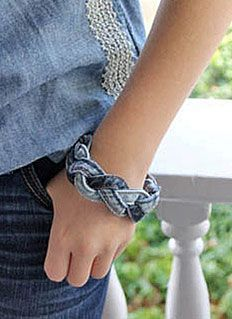 Recycled Denim Braided Bracelet @carolinealexander