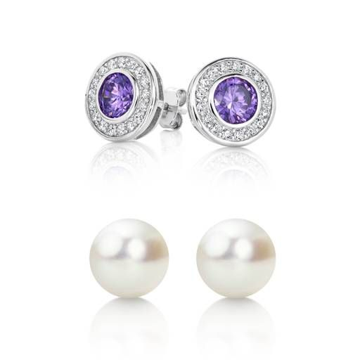 Perfect presents for your best friend! Sterling Silver Purple CZ Studs and  get the Pearl Studs for free.