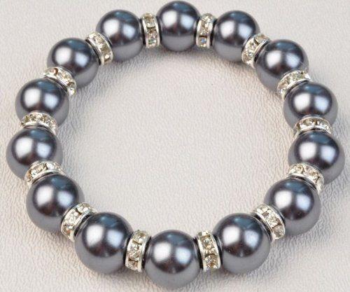 Murano Pearl Dark Grey 7 Inch Swarovski Bracelet AquaCrown. $15.95