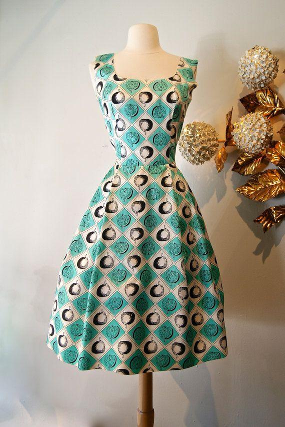 1950s Novelty Print Dress / Vintage 50s Apple by xtabayvintage, $198.00