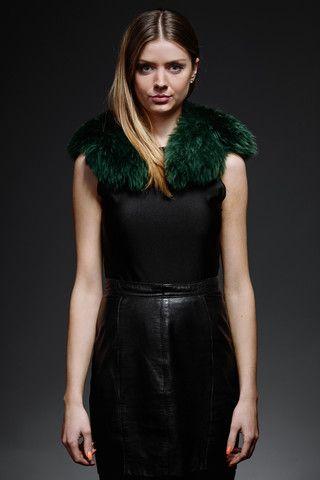 green shearling fur collar – horovitz
