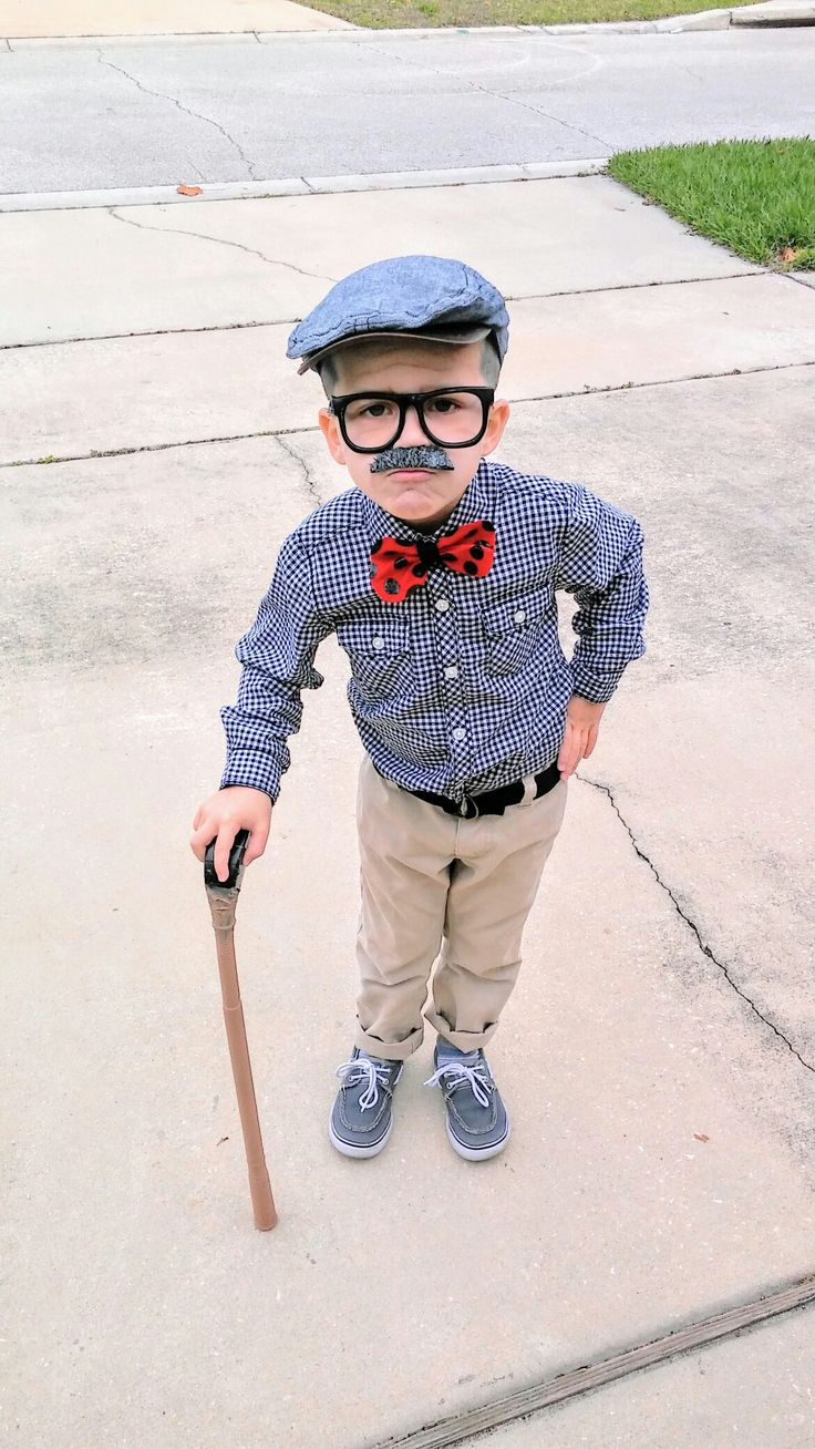 100th day of school/old man costume for kids. Mustache, glasses and painted golf stick from dollar tree. White face paint on hair and face with some lines for wrinkles.