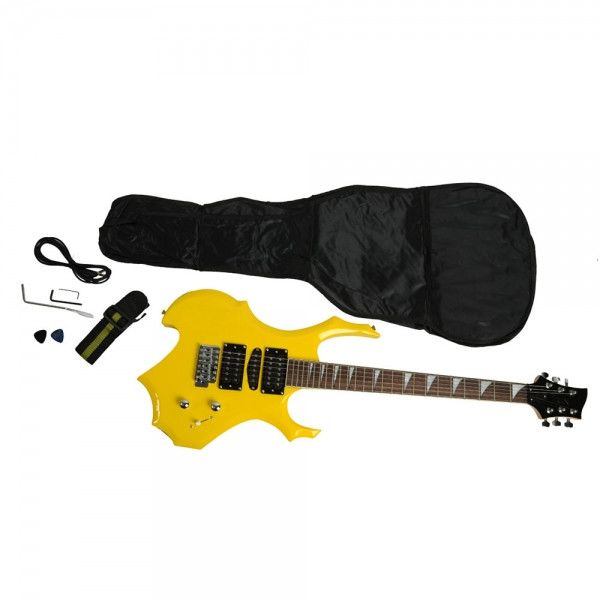 Flame Type Electronic Guitar Yellow with Bag Pick Cable Strap