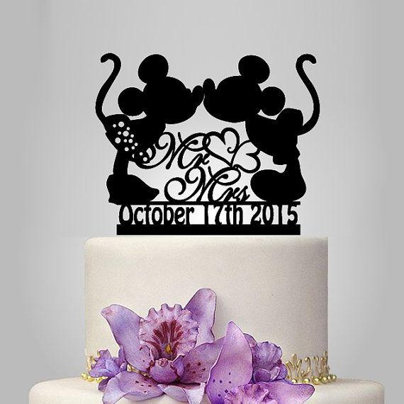 Mickey et Minnie topper gâteau de souris silhouette, mr et topper gâteau mariage Mme décor coeur, topper gâteau de mariage disney avec date