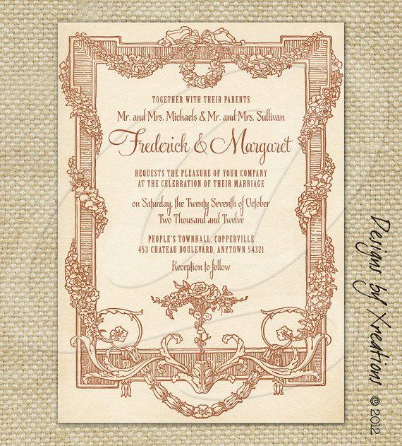 Vintage, Rustic Victorian Invitation   Wedding Invitation   5x7 Inches    Digital File   Print