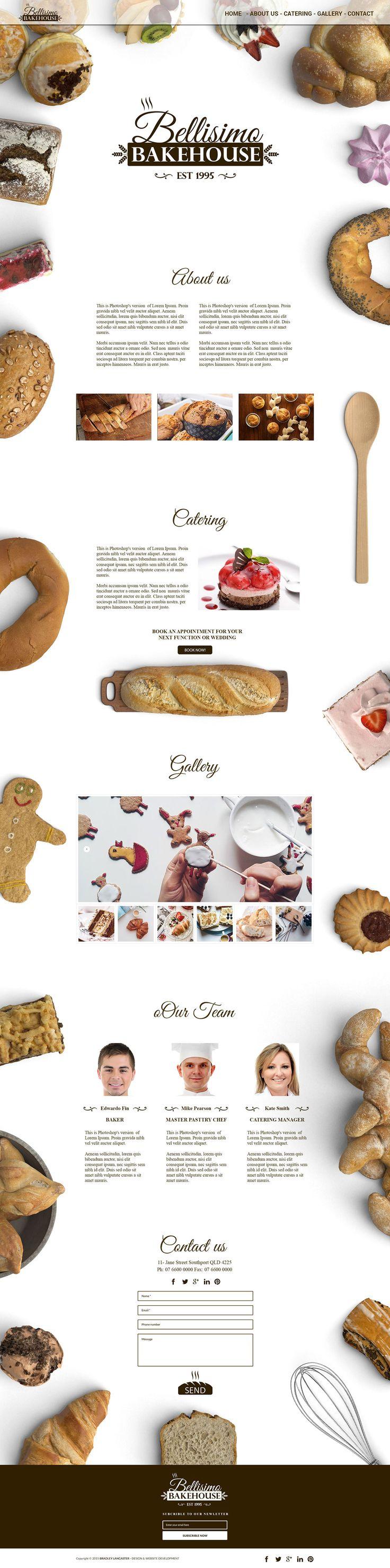A clean elegant logo design, branding identity and website design for Bellisimo Bakehouse Bakery.