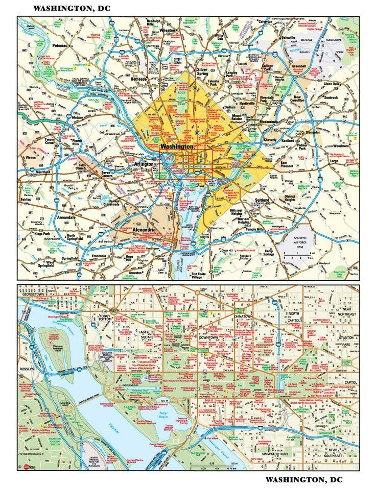Washington, DC Map Map wallpaper, Mural, Wall wallpaper