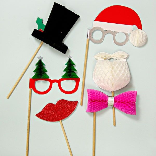 6 Christmas Party Honeycomb Photo Booth Props