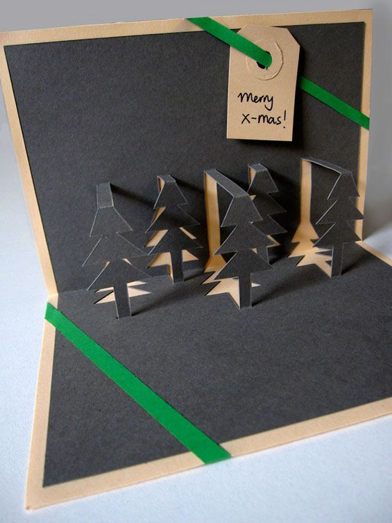 pop up kerstbomenkaart - a Dutch tutorial for this christmas tree pop up postcard