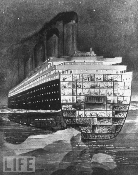 A cut away drawing depicting the Titanic hitting the iceberg.