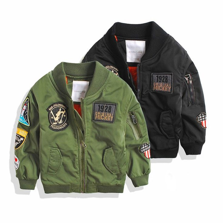 Spring Autumn Jackets for Boy Coat Bomber Jacket Army Green Boy's Windbreaker Jacket Mickey Print Kids Children Jacket age 3-13