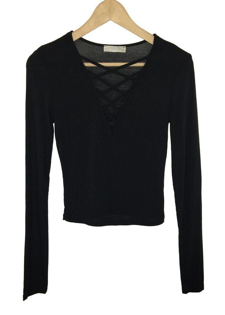blanche criss cross top (black)
