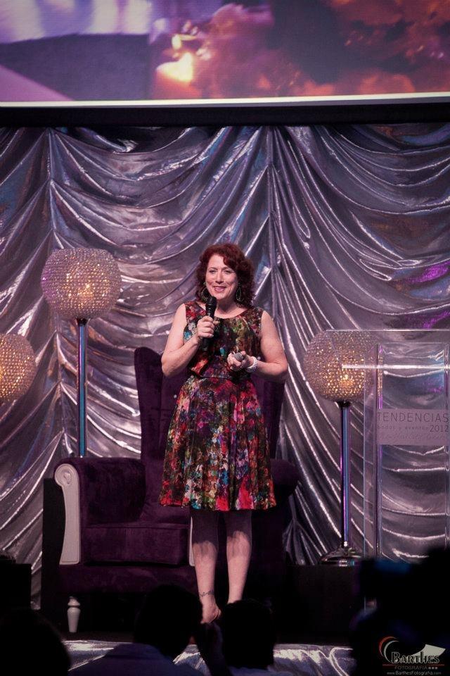 Marcy Blum on stage.