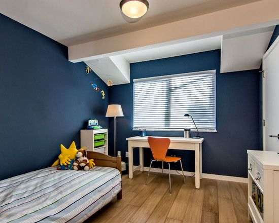 Bedroom Design, Awesome Midcentury Kids Bedroom Also Comely Bedroom Ceiling Lights Also Dark Blue Wall Color Also Untreated Floorboards Also...