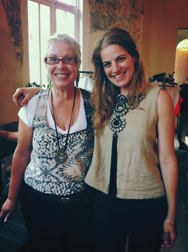 Dori and Sharon Tal, head designer of Maskit.com had fun at a Tel Aviv trunk show. Sharon is wearing Dori's haute couture Ascot necklace