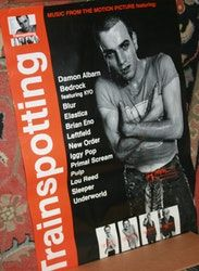 Trainspotting movie soundtrack promo poster. Featuring songs from Damon Albarn, Blur, Iggy Pop, New Order, Pulp, Lou Reed, Underworld, Leftfield, Brian Eno, and more.
