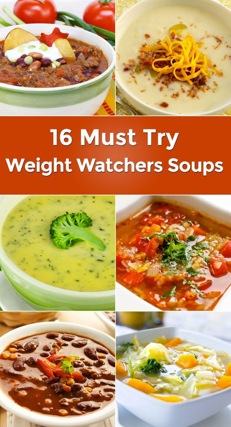 16 Must Try Weight Watchers Soups including Vegetable, Taco Soup, Tomato Spinach, Cabbage, Baked Potato, Broccoli Cheese, Egg Drop Soup, French Onion, Tortilla, and more!