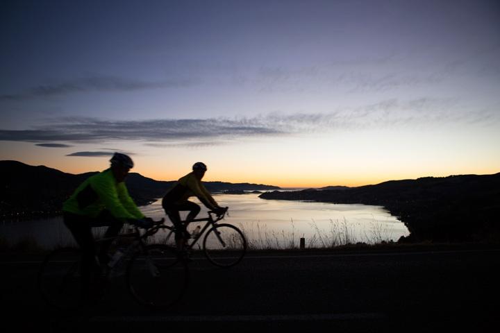 Cycling on Highcliff Road. (C) Derek Morrison. www.InsidersDunedin.co.nz