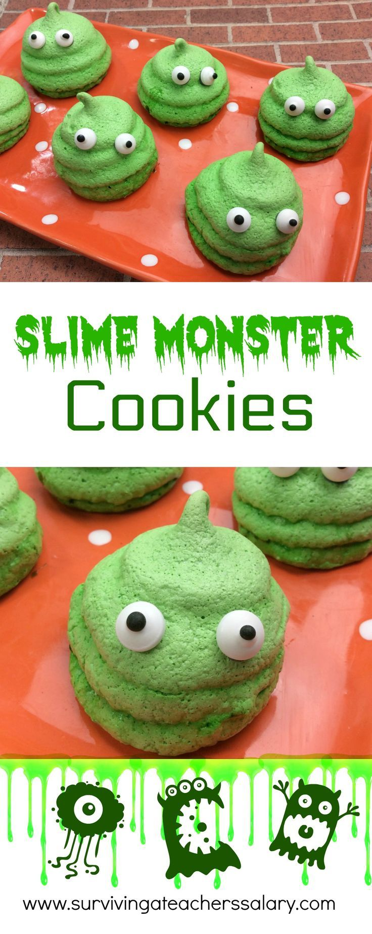Slime is all the rage and these monster Slime Cookies will knock your socks off! Kids will go crazy over this easy recipe. Make them for classroom parties, tween parties, Halloween parties, or just grab your kids and get baking in the kitchen!