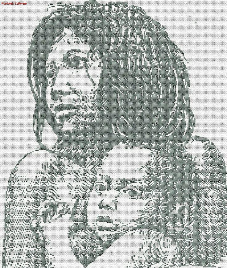 Madre e hijo en punto cruz