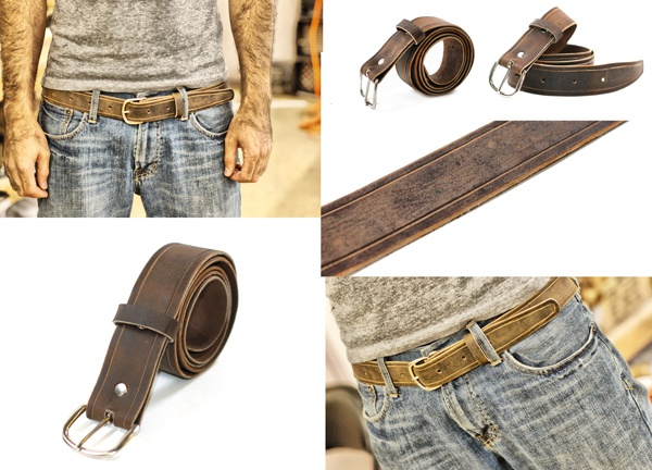 Brown Leather Belt with distressed crazy horse leather!