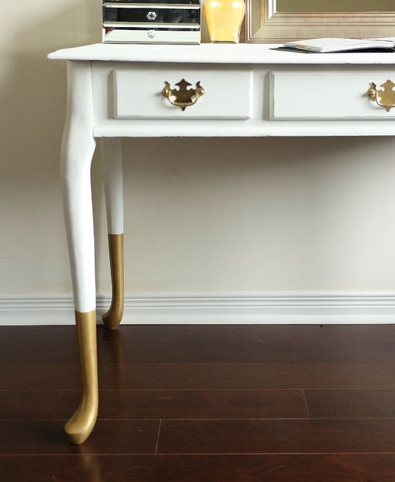 Gold dipped queen anne desk vanity console by restauredesigns