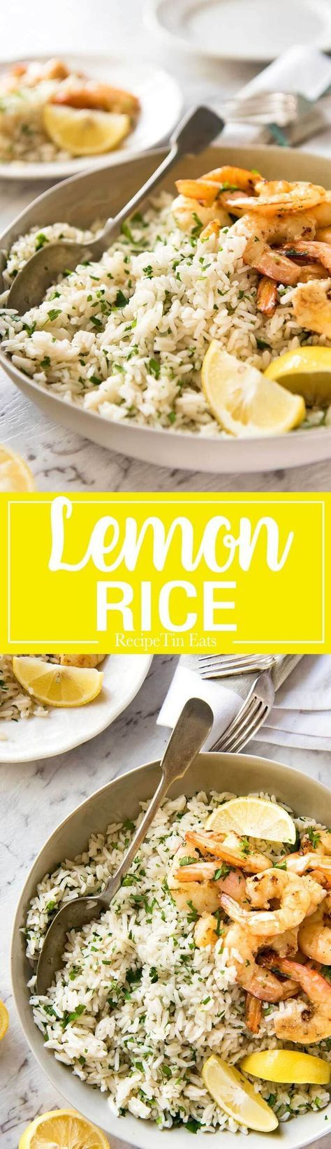 This Lemon Rice Pilaf is so delicious, it can be eaten plain! Lovely bright fresh lemon flavours with herbs.