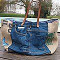 SAC Sardine & Cie Collection Jean et Toile de Jute Anses en cuir Doublé de tissu vichy bleu marine 2 poches...