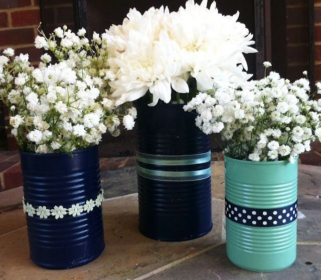 Tin can vases centerpiece