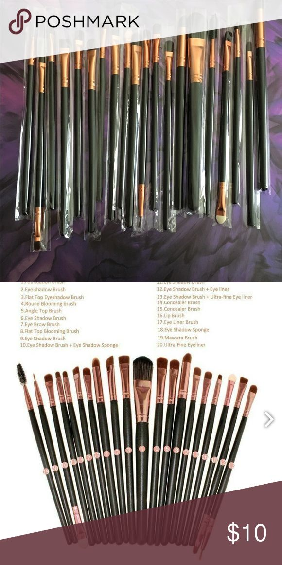 20 Piece Makeup Brush Set •20 Piece Make Up Brush Set. Brand New.  •High Quality Goat Hair, Nylon Material, and soft synthetic  •Full size brushes with long handles     •Color is black handles with pink and white bristles  •Synthetic  •No brand, but good quality and soft  •First two photos shows actual brushes you will be receiving  •These retail for $20+ at Walmart online •Price is firm  •No free shipping   •No holds •These sell out fast and customers love them so get yours today while…
