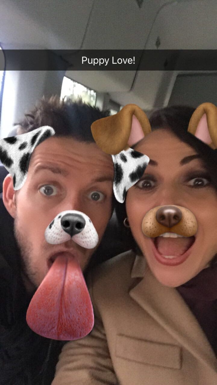 Awesome Lana and Sean using the   adorable puppy filter in #SnapChat #PuppyLove! possibly on a plane #LosAngeles #Ca #VancouverBC #Canada Thursday 12-1-16 #LanasSnapChat