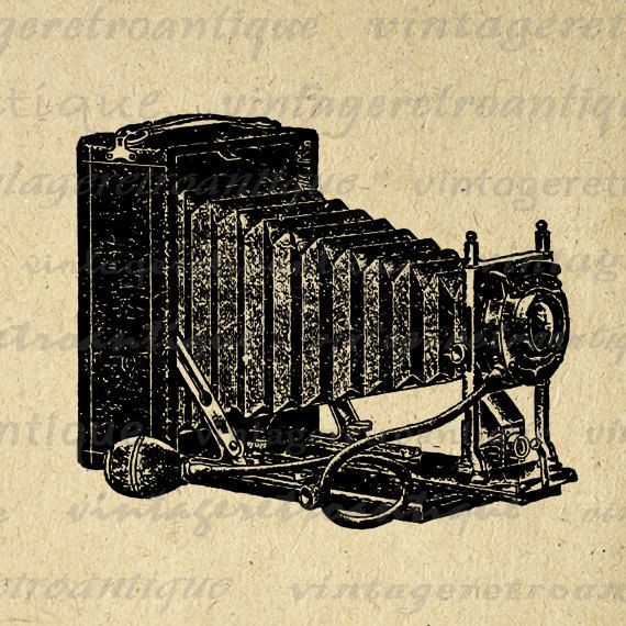 Printable Image Old Fashioned Camera Download Illustrated Graphic Digital Vintage Clip Art. Vintage printable digital graphic clip art for fabric transfers, making prints, and more great uses. Real antique art. Personal or commercial use. This image is high quality, high resolution at 8½ x 11 inches. Transparent background version included with every graphic.
