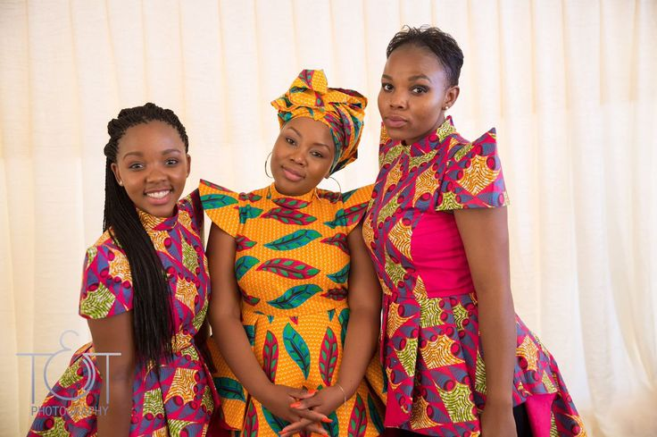 African bride with bridesmaids