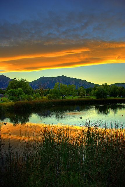 **clouds stretching across the Front Range at sunset, Colorado