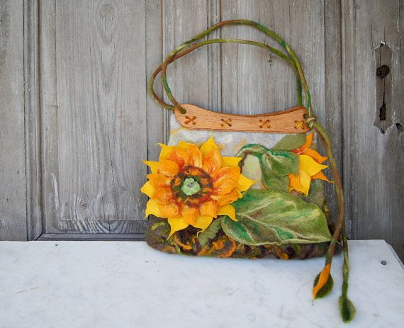 Unique felted bag with 3D sunflower with wooden by filcAlki, $179.00