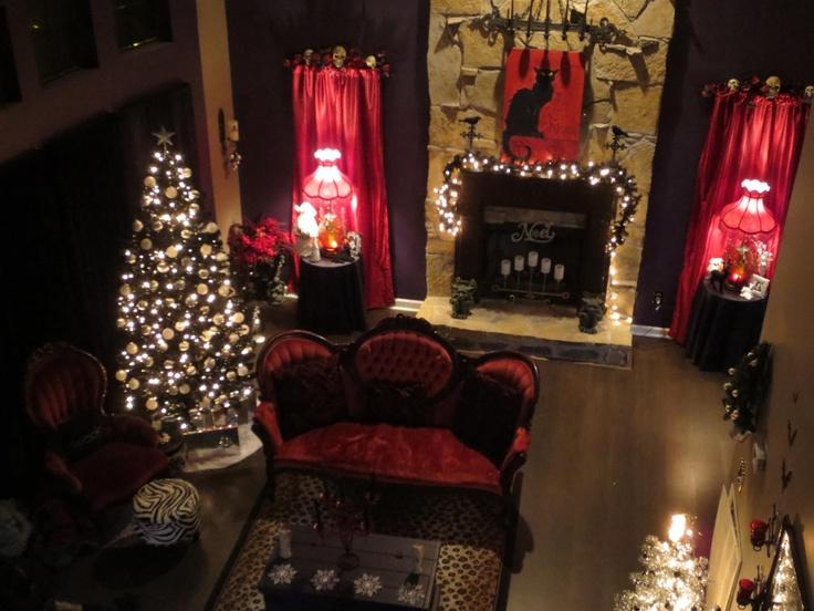astounding black white christmas living room | My black & white Gothic themed Christmas livingroom ...