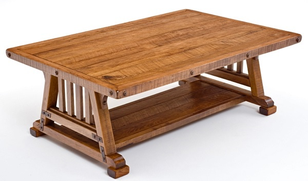 """Bungalow Collection - Mission Coffee Table - Features Solid Hardwood & Forged Metal Braces - Item #CT03069 - 54"""" x 36"""" x 19""""H - Custom Sizes Available"""