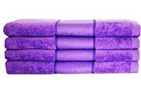 Restmor Neón Set de 4 Toallas de baño extra-grandes de 100% Algodón 450g/m2 disponible en 5 colores vibrantes – Malva Neón
