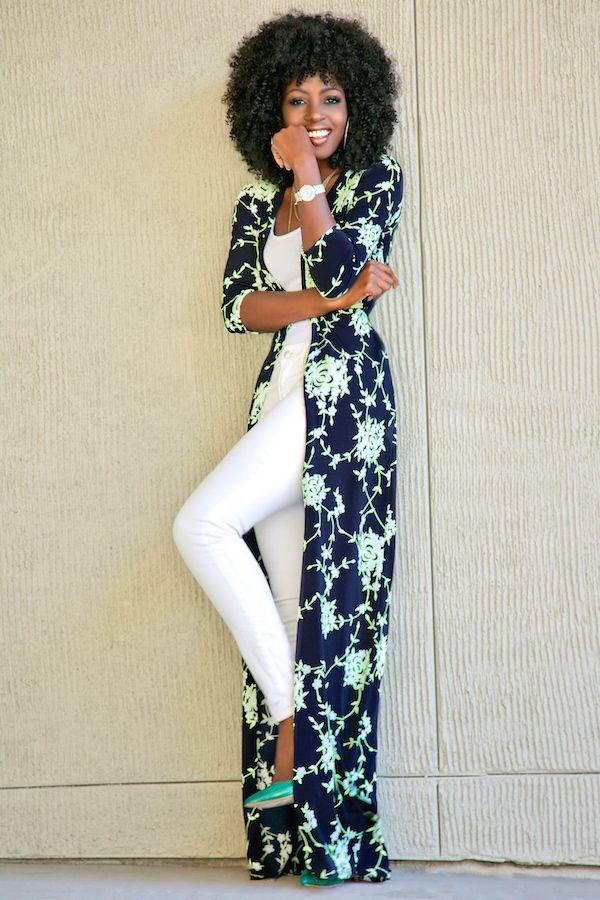 White-soled metallic mint pumps, lime-floral navy kimono, white U-neck top w/ white skinnies, metallic mauve smile, shoulderlength afro
