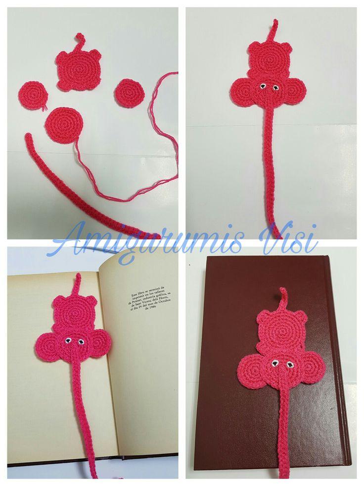 marcapagina de elefante a ganchillo