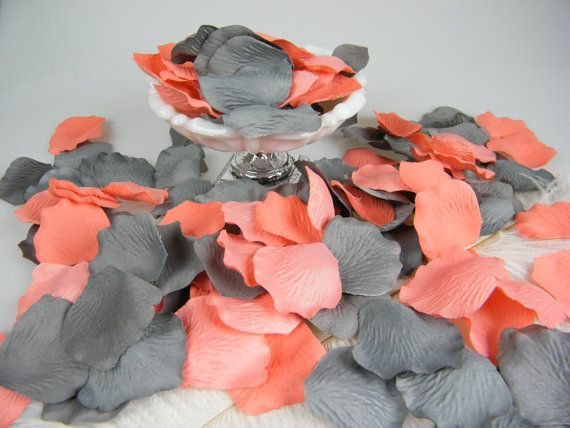 Coral & Grey Artificial Rose Petals | 200 | Coral and Gray Wedding | Flower Girl Basket Petals | Ceremony Petals Table Decor | NEW COLOR