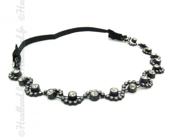Headband vagues cristaux noir