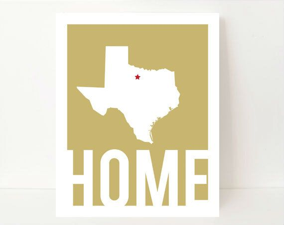 Texas State Art Silhouette Print Home State Art 8x10 by NamedByArt, $15.00